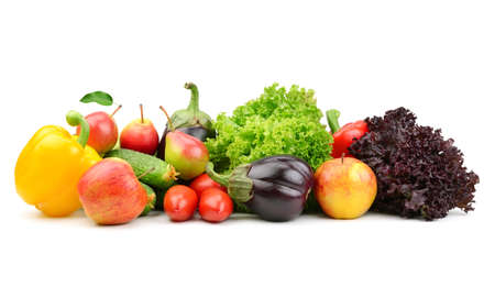 collection fruits and vegetables isolated on a white background                               Stock Photo
