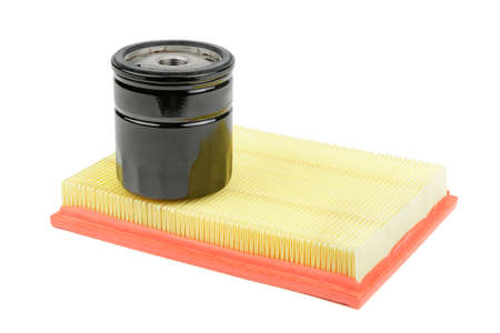 lubricate: oil filter and air filter for a car isolated on white background
