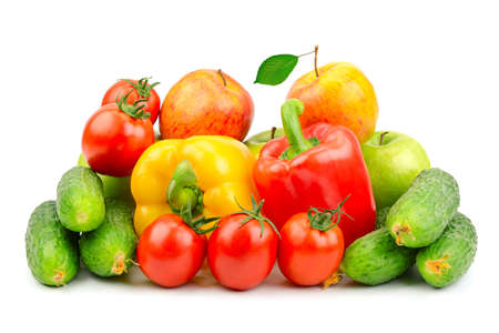 Composition of fruits and vegetables isolated on white background Stock Photo - 15475796