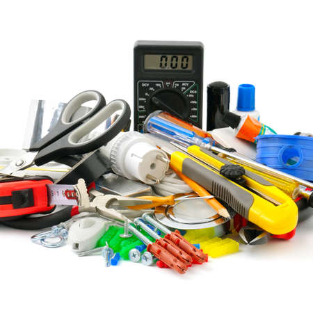 electric tools: collection tools isolated on white background                                     Stock Photo