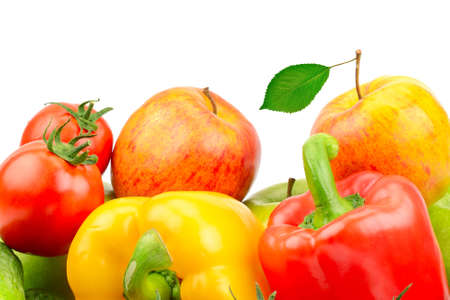 Composition of fruits and vegetables isolated on white background photo