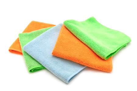 Colorful cloths microfiber isolated on a white background                                     photo