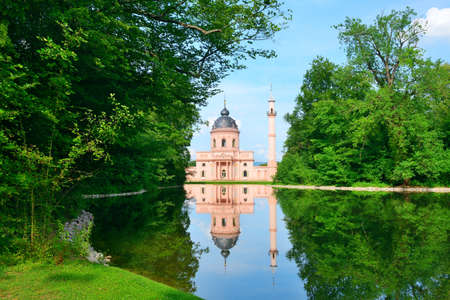 islamic scenery: Majestic mosque on the lake in Germany