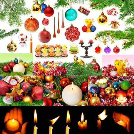 Christmas decorations and candles isolated on white background  photo