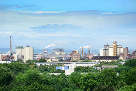 emission: Chemical plant in the city.                                     Stock Photo
