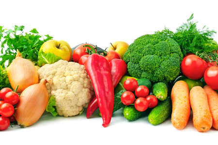 verse groenten en fruit geïsoleerd op witte achtergrond Stockfoto