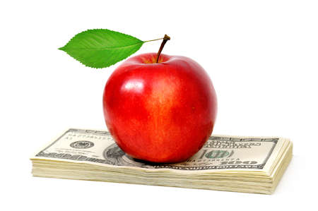 apple and dollars isolated on a white background photo