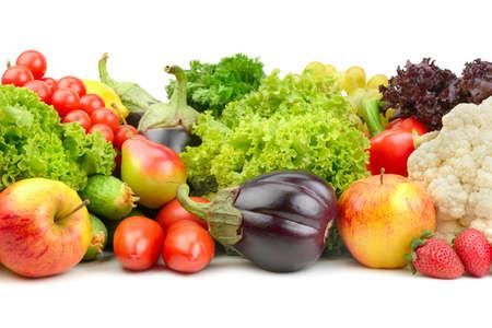Obst und Gemüse auf einem weißen Hintergrund Standard-Bild - 17437706