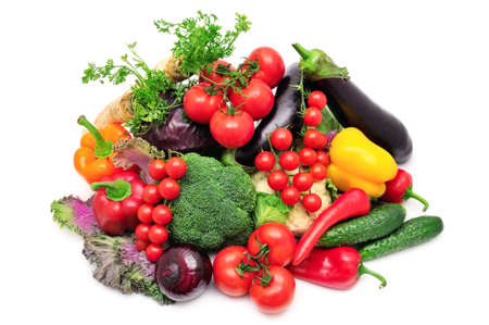 collection vegetables isolated on white background                                     Foto de archivo