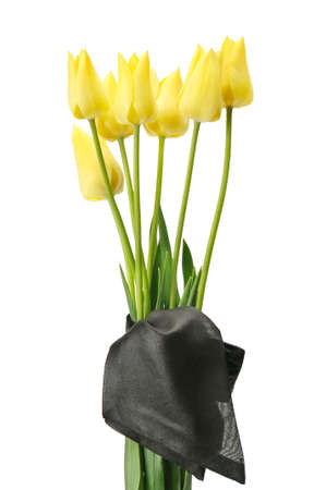 bouquet of yellow flowers for a funeral isolated on a white background                                     Foto de archivo