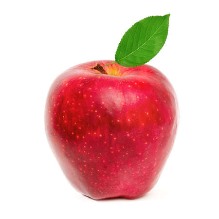 red apple with leaf isolated on a white background                                     photo