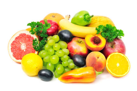 fruits and vegetables isolated on white background Stock Photo - 18087066