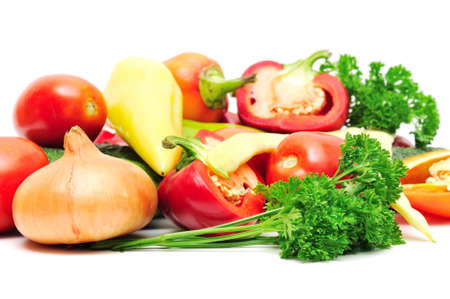 collection vegetables isolated on a white background                                     photo