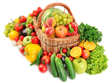 fruit and vegetable in basket isolated on white background                                     Stock Photo