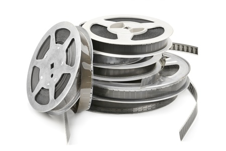 celluloid film: Old film strip isolated on white background