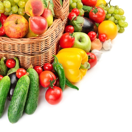 vegetables white background: fruit and vegetable in basket isolated on white background                                     Stock Photo