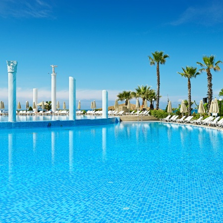 Outdoor swimming pool on the beach