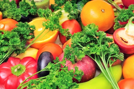 fruits and vegetables background                                     photo
