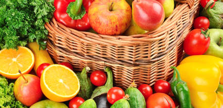 fruit and vegetables background                                     photo