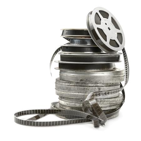 흰색 배경에 고립 된 오래 된 필름 스트립 스톡 콘텐츠