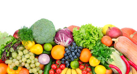 fresh fruits and vegetables isolated on white background                                    Standard-Bild