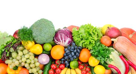 verse groenten en fruit geïsoleerd op een witte achtergrond Stockfoto