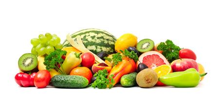 컬렉션 과일과 흰색에 야채 스톡 콘텐츠