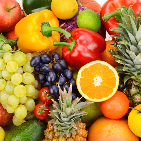 collection fresh fruits and vegetables Standard-Bild