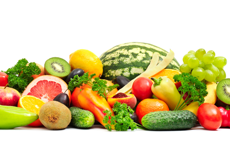 Collection fruit and vegetables on white Standard-Bild