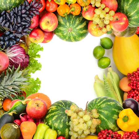 Frame of vegetables and fruits on white