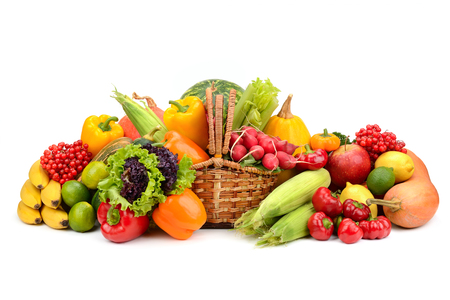 composition of fruits and vegetables in basket on white Stockfoto