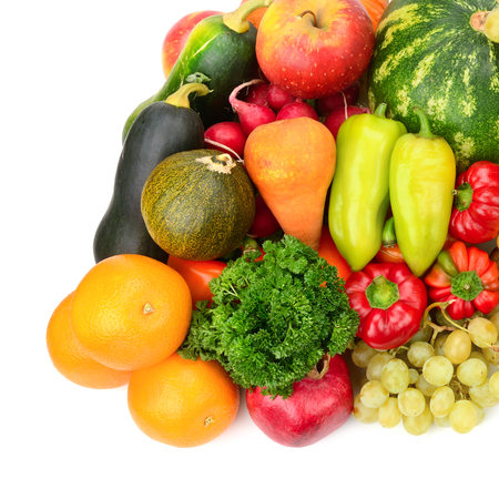 Collection fruit and vegetables on white 版權商用圖片