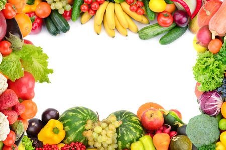 Frame of vegetables and fruits on white background