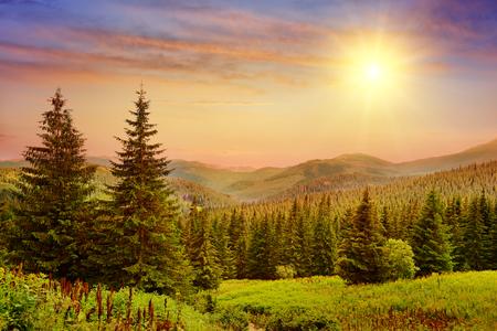 Beautiful sunrise in the mountains Foto de archivo