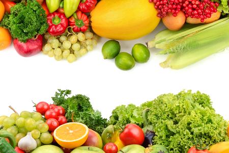 흰색 배경에 격리 된 과일과 야채 스톡 콘텐츠