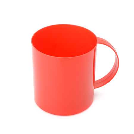 Red plastic cup isolated on white Stock Photo