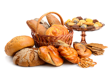 Collection of bread products isolated on white background Foto de archivo