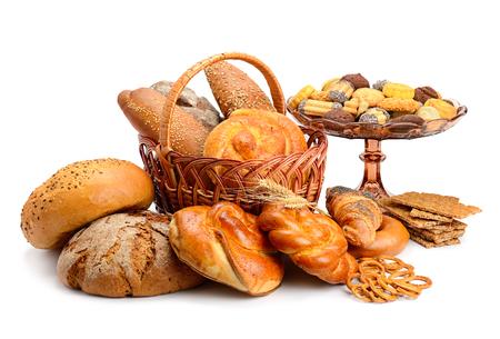 Verzameling van broodproducten geïsoleerd op een witte achtergrond