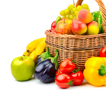 collection fruit and vegetable in basket isolated on white background Stock Photo