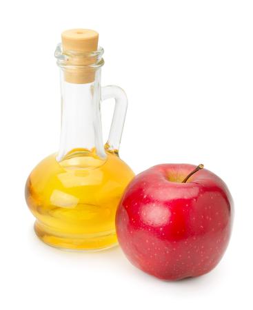 fles appel azijn en appel geïsoleerd op wit Stockfoto