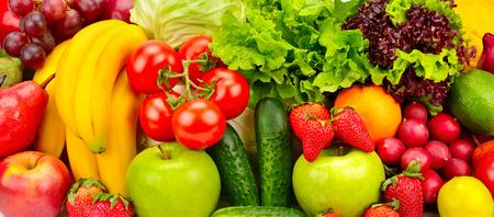 collectie verse groenten en fruit achtergrond Stockfoto