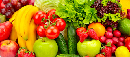 collection fresh fruits and vegetables background Archivio Fotografico