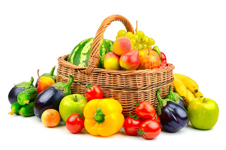 collection fruit and vegetable in basket isolated on white background Stockfoto