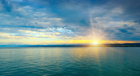 Dawn above sea and blue sky Reklamní fotografie