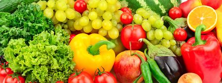 fresh fruits and vegetables background Stock Photo - 58985810