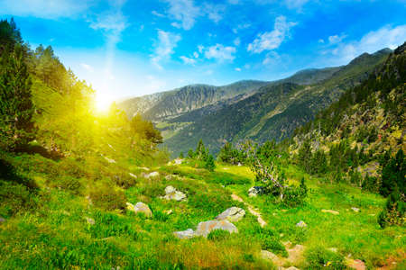 Beautiful sunrise in high mountains and blue sky, Andorra, Pyrenees