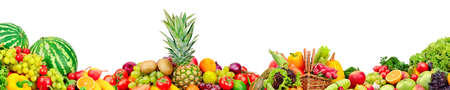 Panoramic collection of fruits and vegetables for skinali isolated on white background.