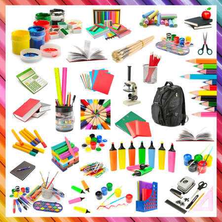 Collection of stationery and school supplies isolated on white background.