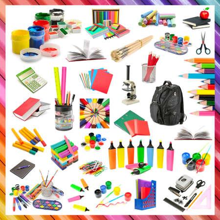 Colección de artículos de papelería y de la escuela aislado en el fondo blanco.