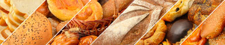 Panoramic set of fresh bread products. Wide format.